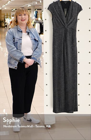 Metallic Twist Front Jersey Gown, sales video thumbnail