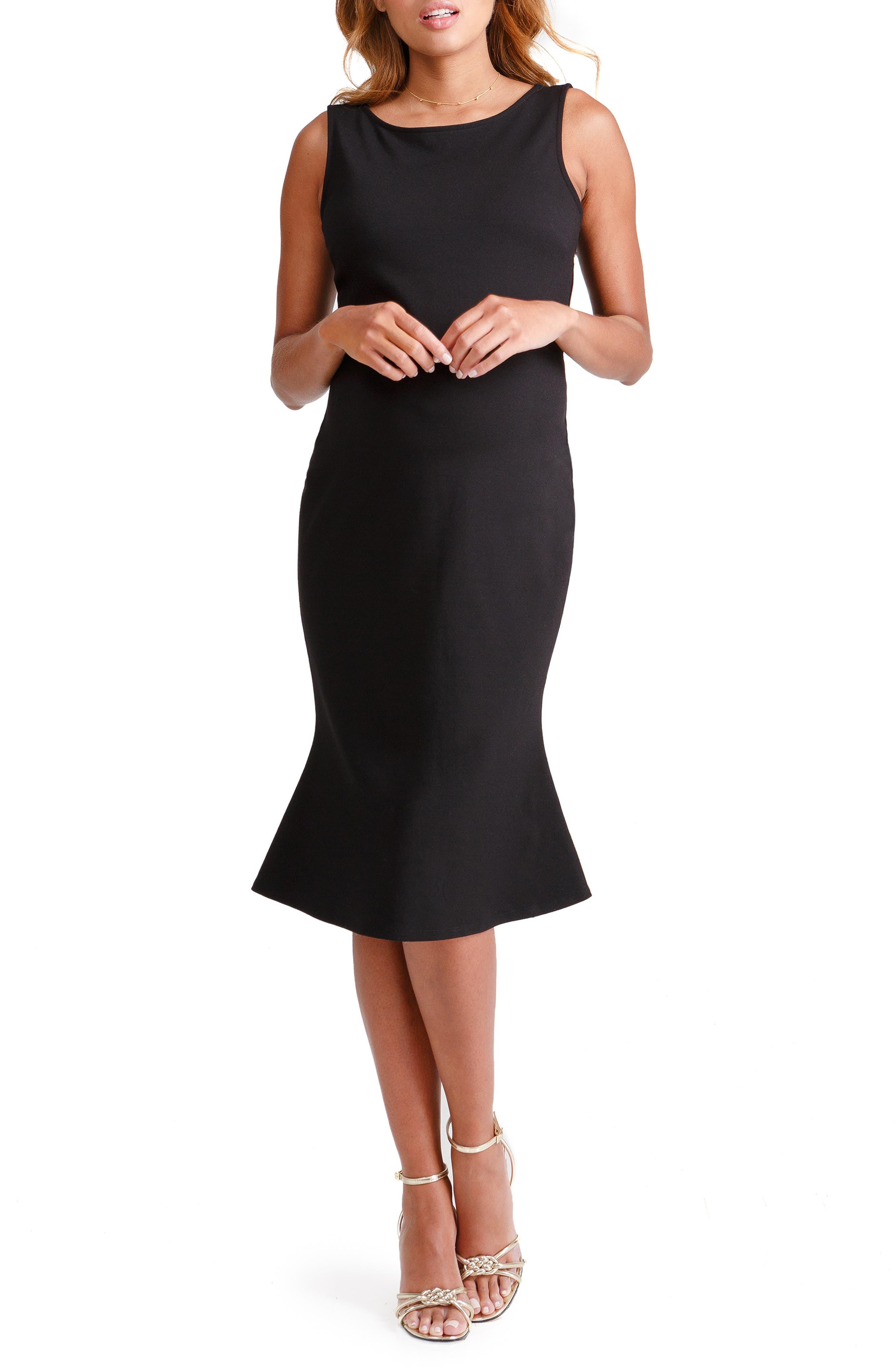 Vintage Maternity Clothes History Womens Ingrid  Isabel Tulip Hem Maternity Dress Size Large - Black $69.99 AT vintagedancer.com