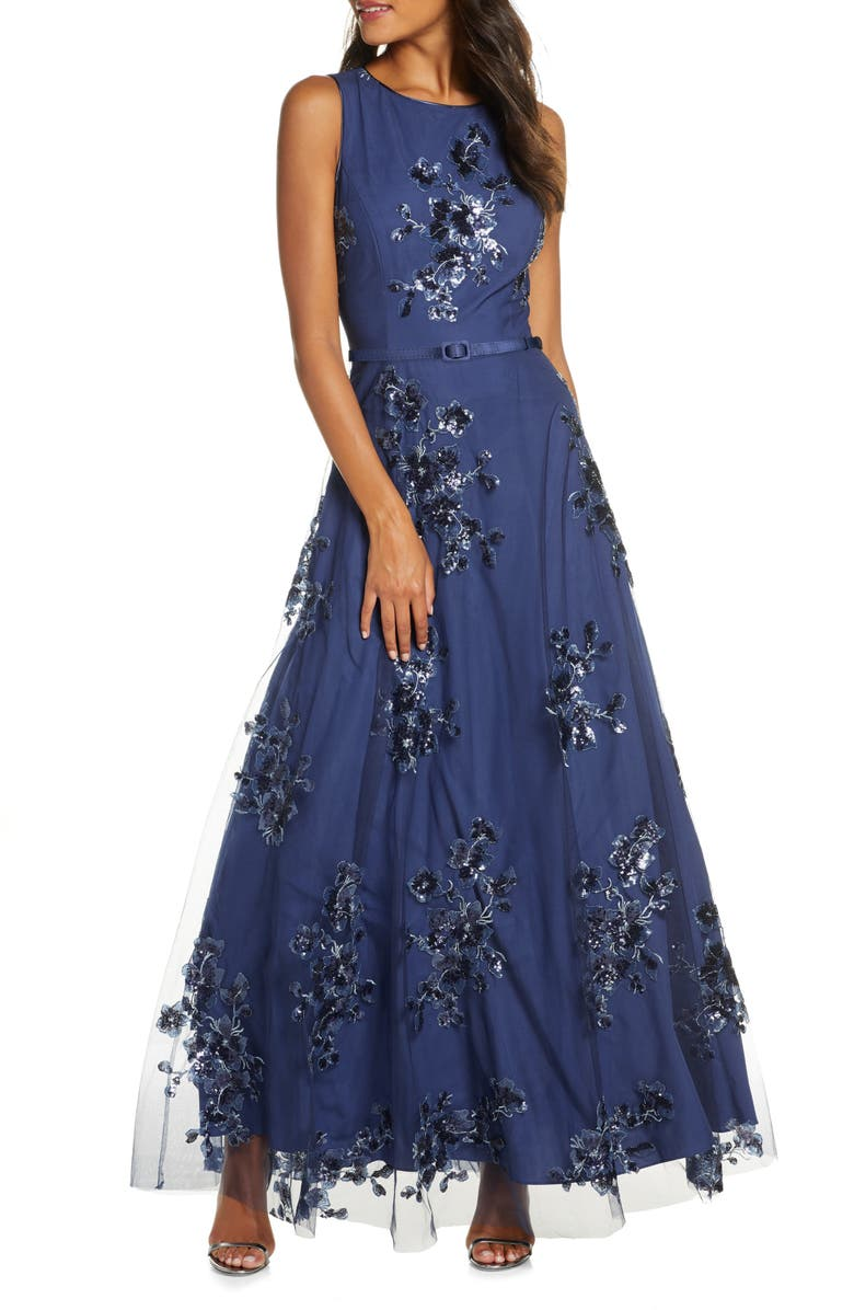 ELIZA J Sequin Floral Mesh Gown, Main, color, NAVY MULTI