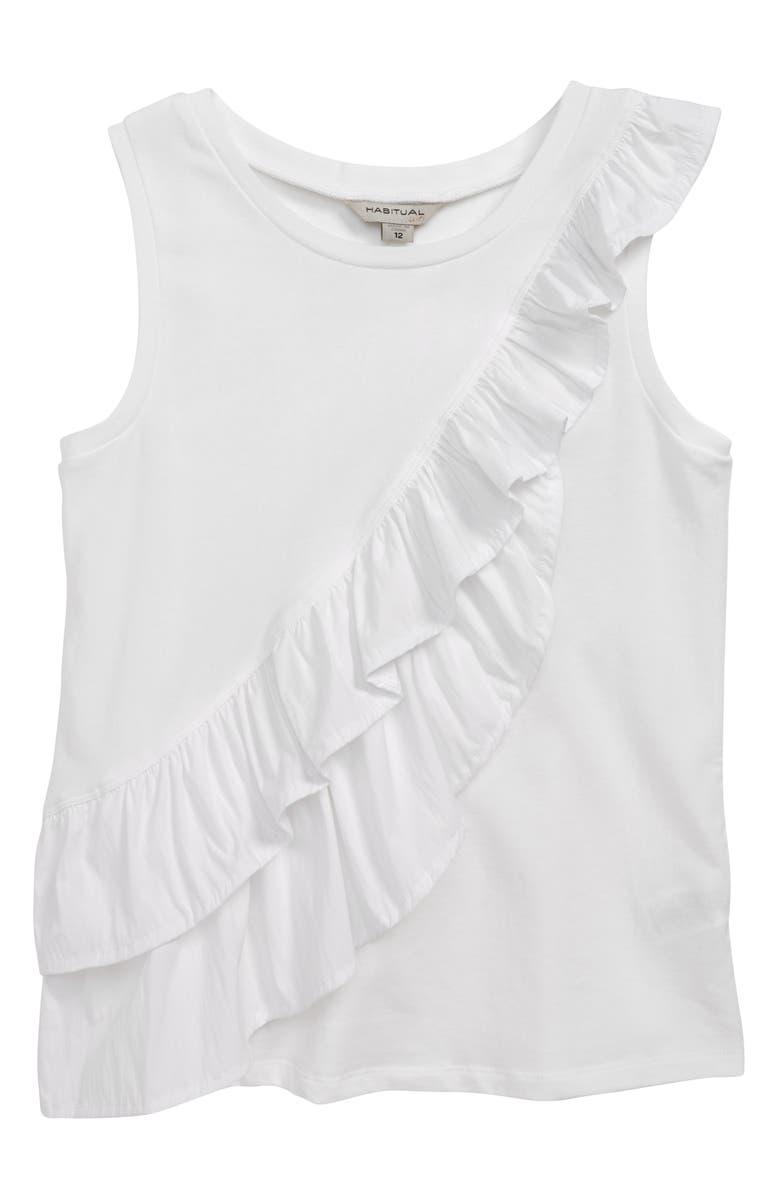 HABITUAL Calista Mixed Fabric Ruffle Tank Top, Main, color, WHITE