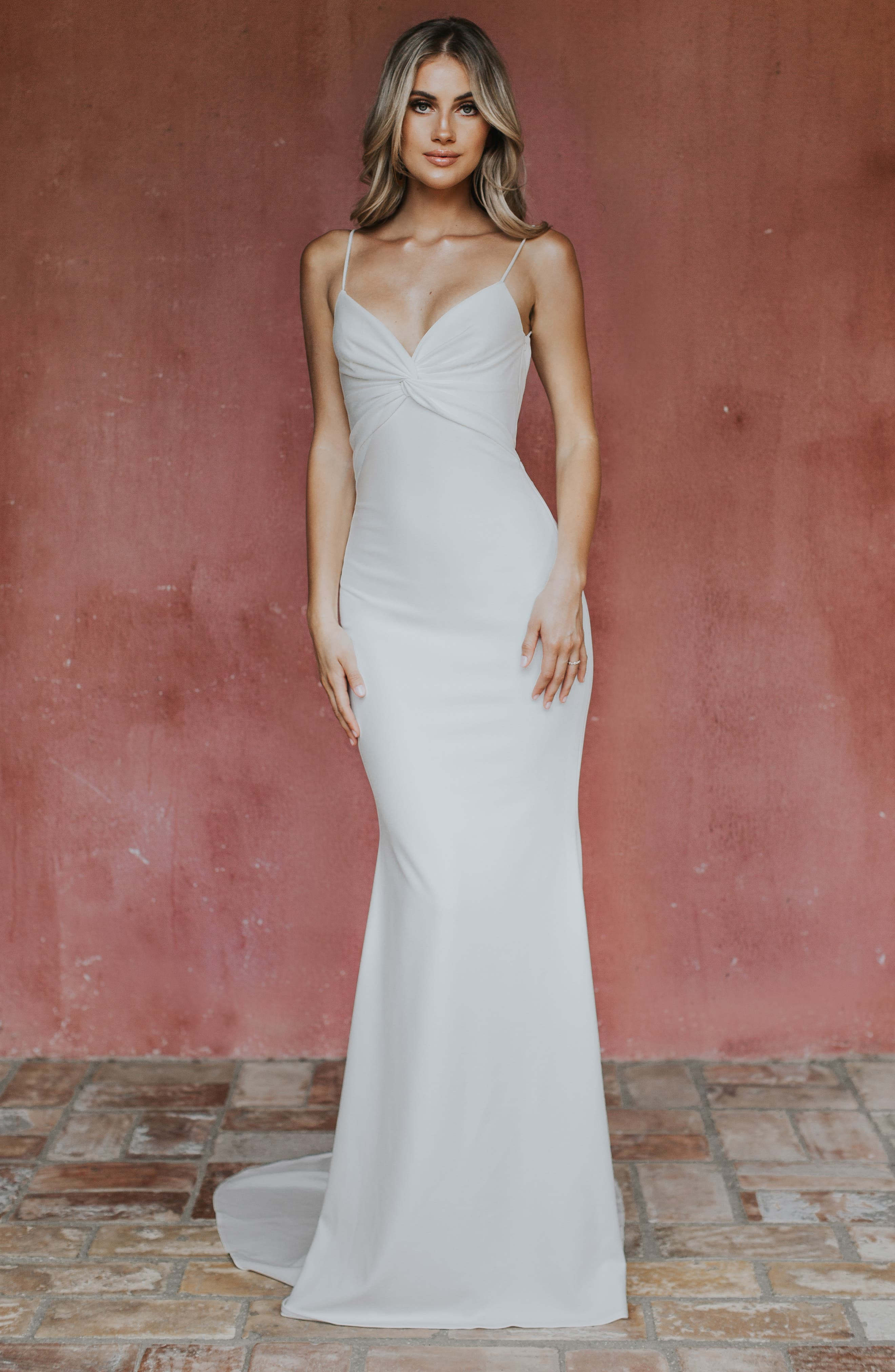 Noel And Jean By Katie May Breathless Twist Bodice Trumpet Gown, White (Nordstrom Exclusive)