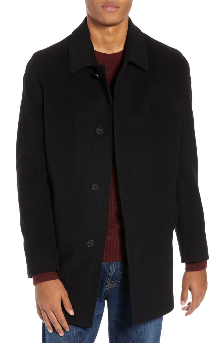 COLE HAAN Italian Wool Blend Overcoat, Main, color, BLACK