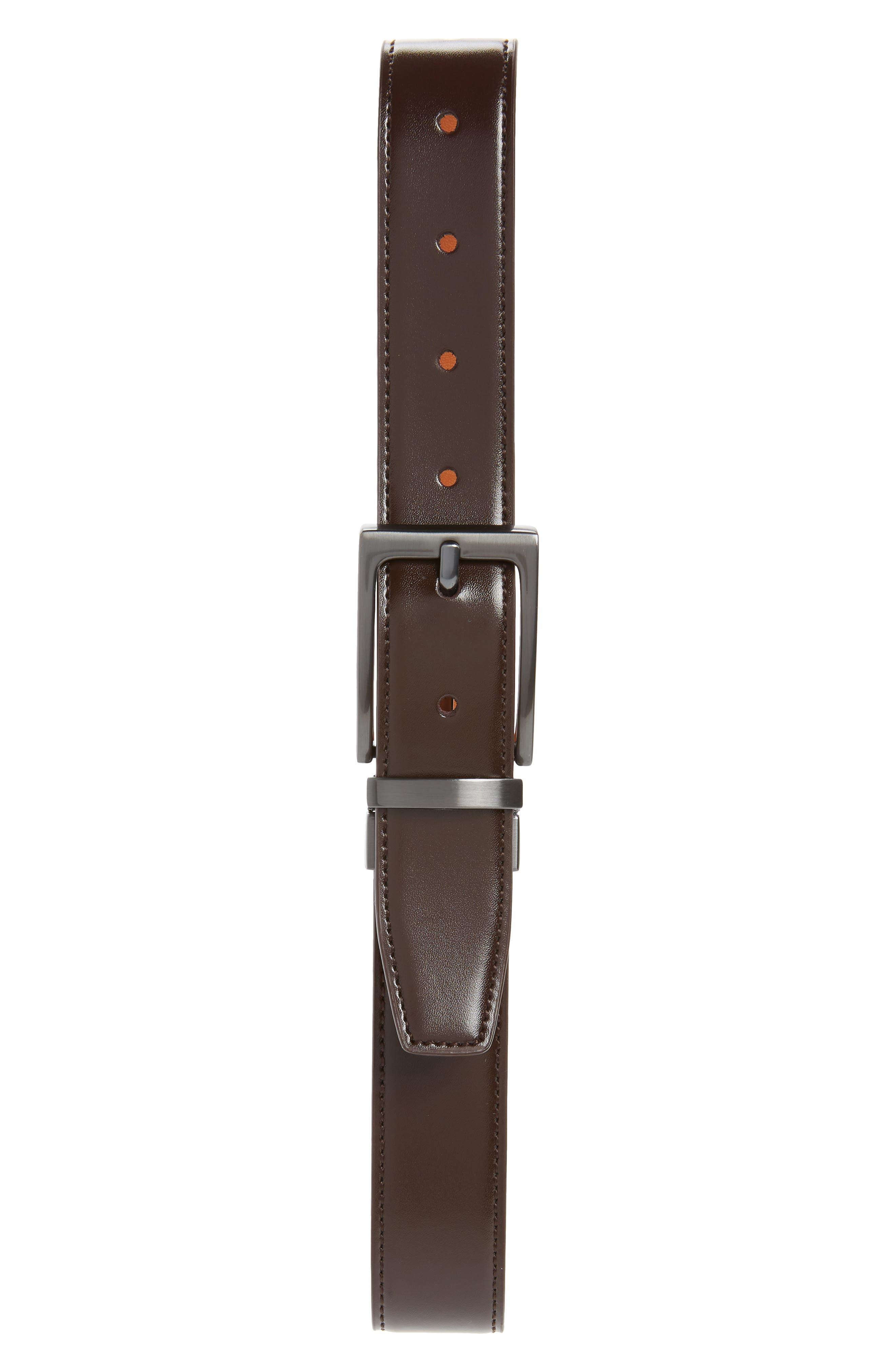 Reversible Faux Leather Belt, Main, color, BROWN
