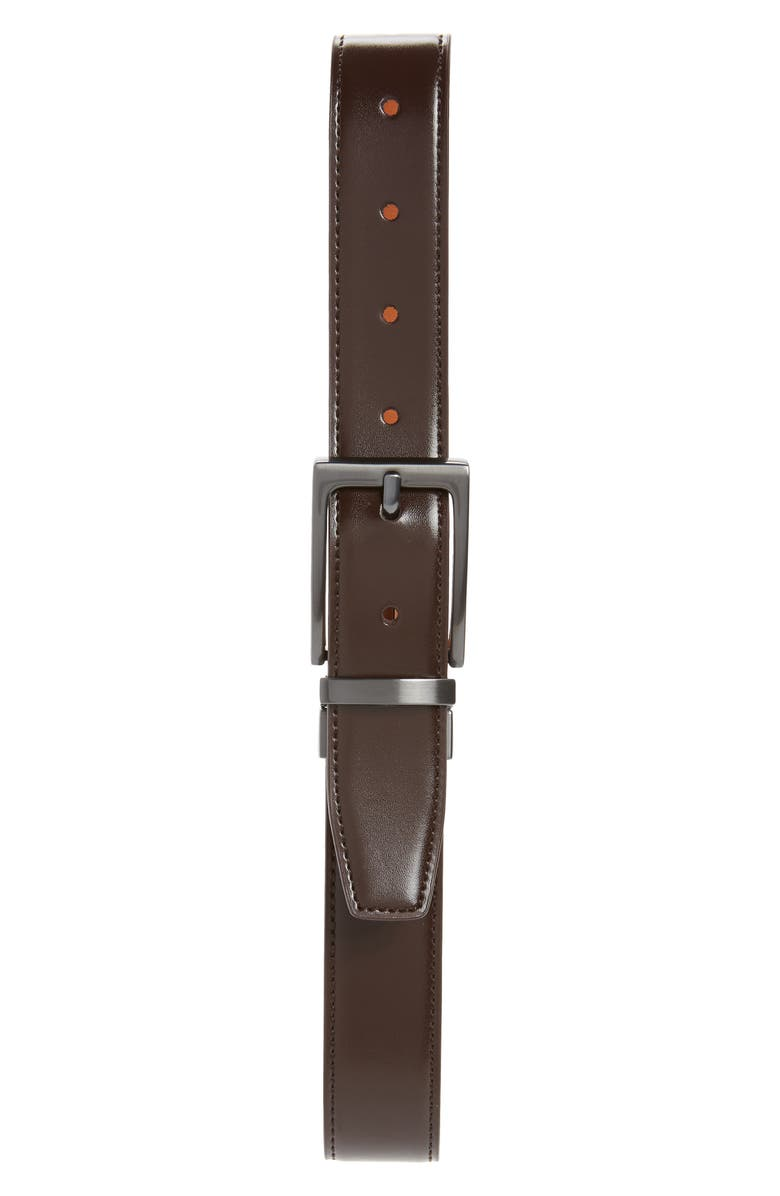 NORDSTROM Reversible Faux Leather Belt, Main, color, BROWN