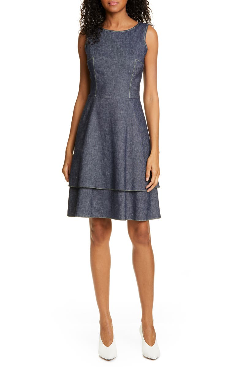HUGO Kalomi Tiered Fit & Flare Dress, Main, color, OPEN BLUE