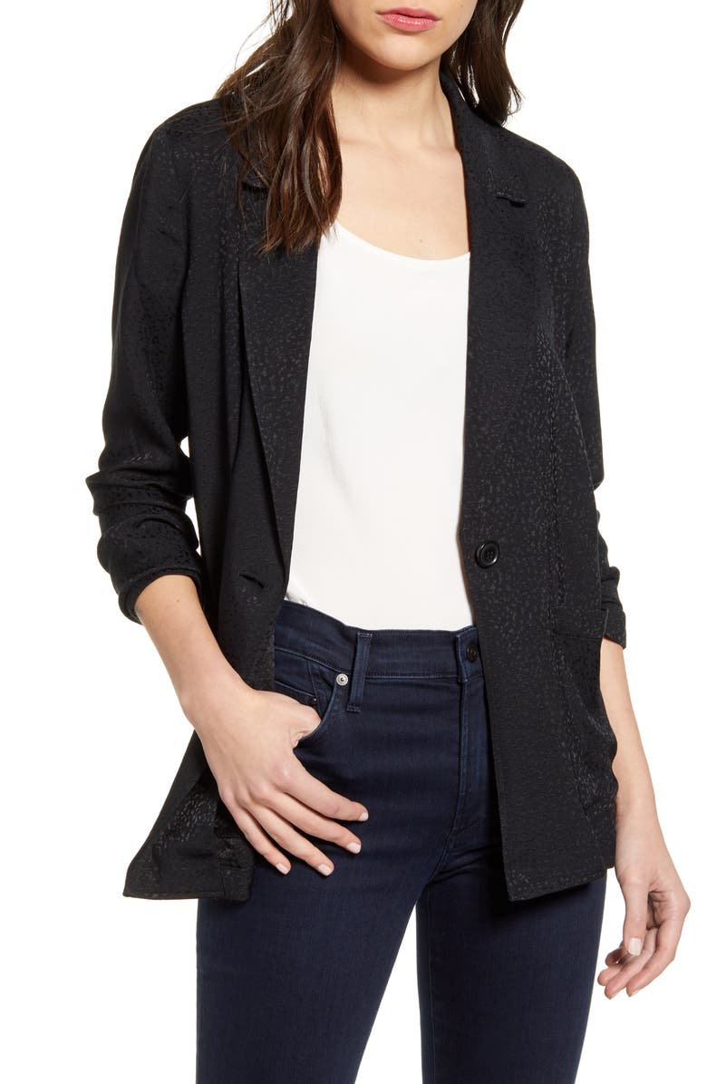 CHELSEA28 Jacquard One-Button Blazer, Main, color, BLACK
