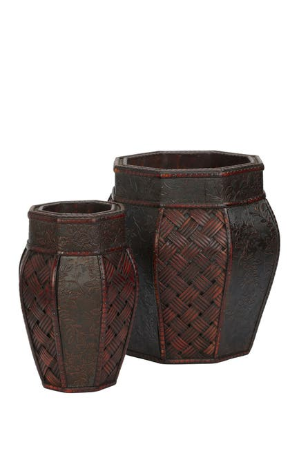 Image of NEARLY NATURAL Design & Weave Panel Decorative Planters - Set of 2