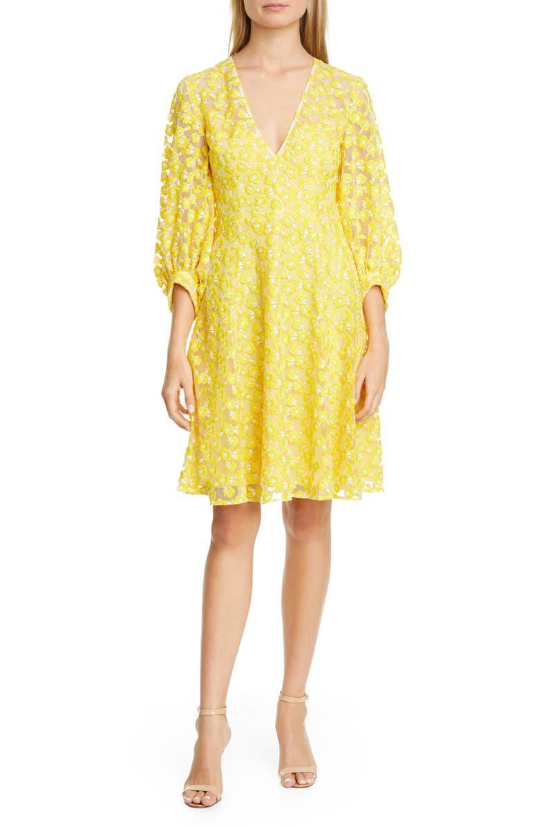 LELA ROSE Embroidered Bishop Sleeve Mesh Dress, Main, color, 700