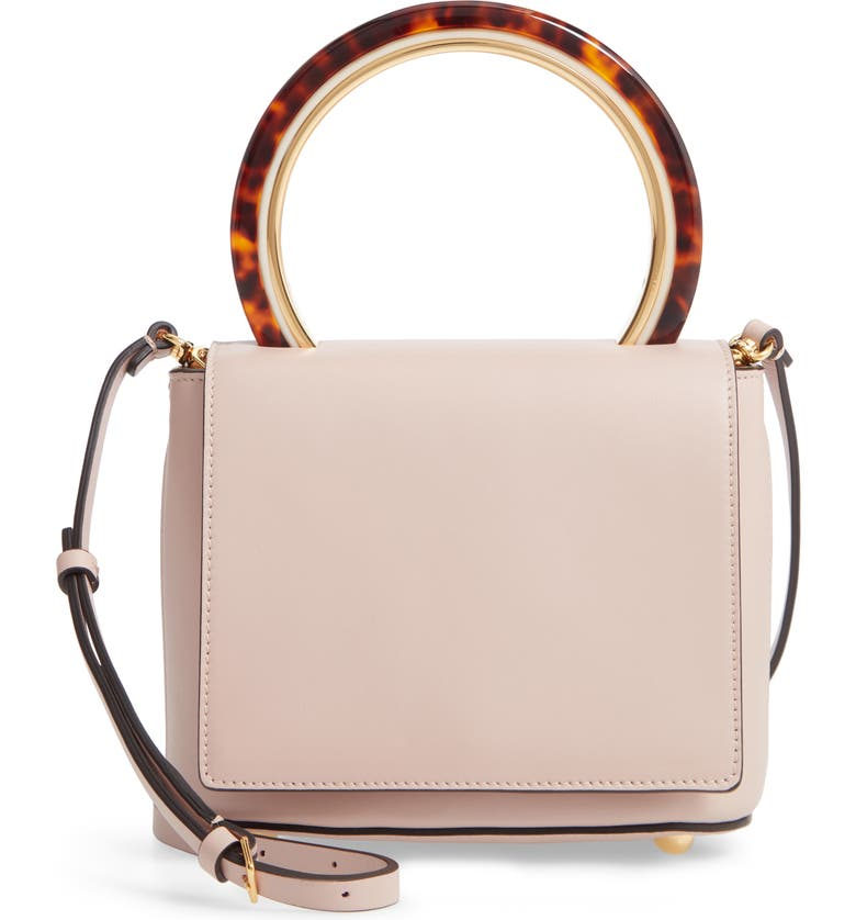 MARNI Ring Handle Leather Bag, Main, color, 650