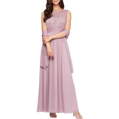Alex Evenings Embellished A-Line Dress With Shawl, Pink