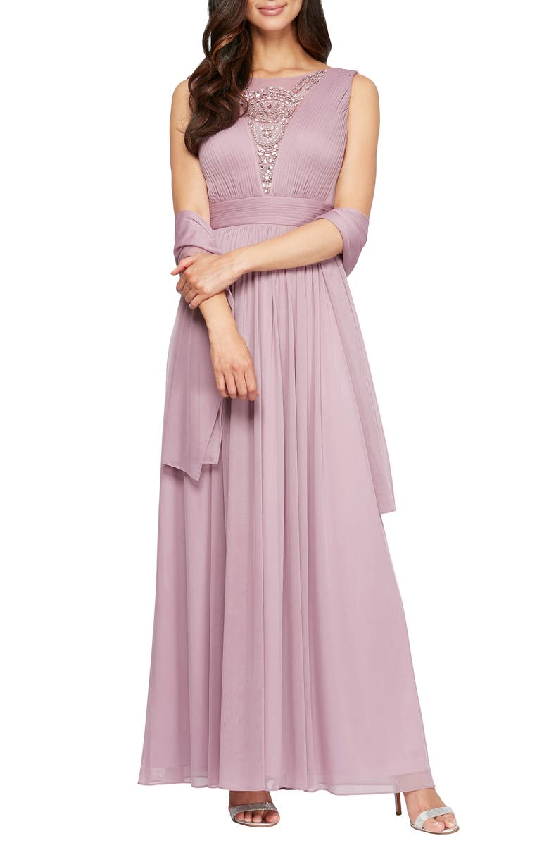 ALEX EVENINGS Embellished A-Line Dress with Shawl, Main, color, PALE PINK