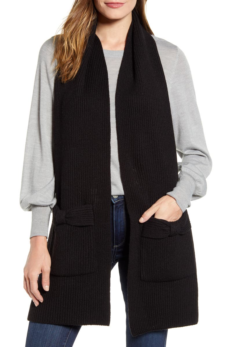 KATE SPADE NEW YORK solid bow knit scarf, Main, color, BLACK