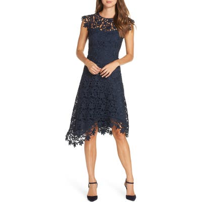 Eliza J Asymmetrical Lace Fit & Flare Dress, Blue