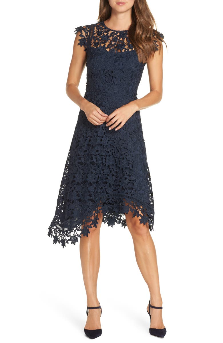 ELIZA J Asymmetrical Lace Fit & Flare Dress, Main, color, NAVY
