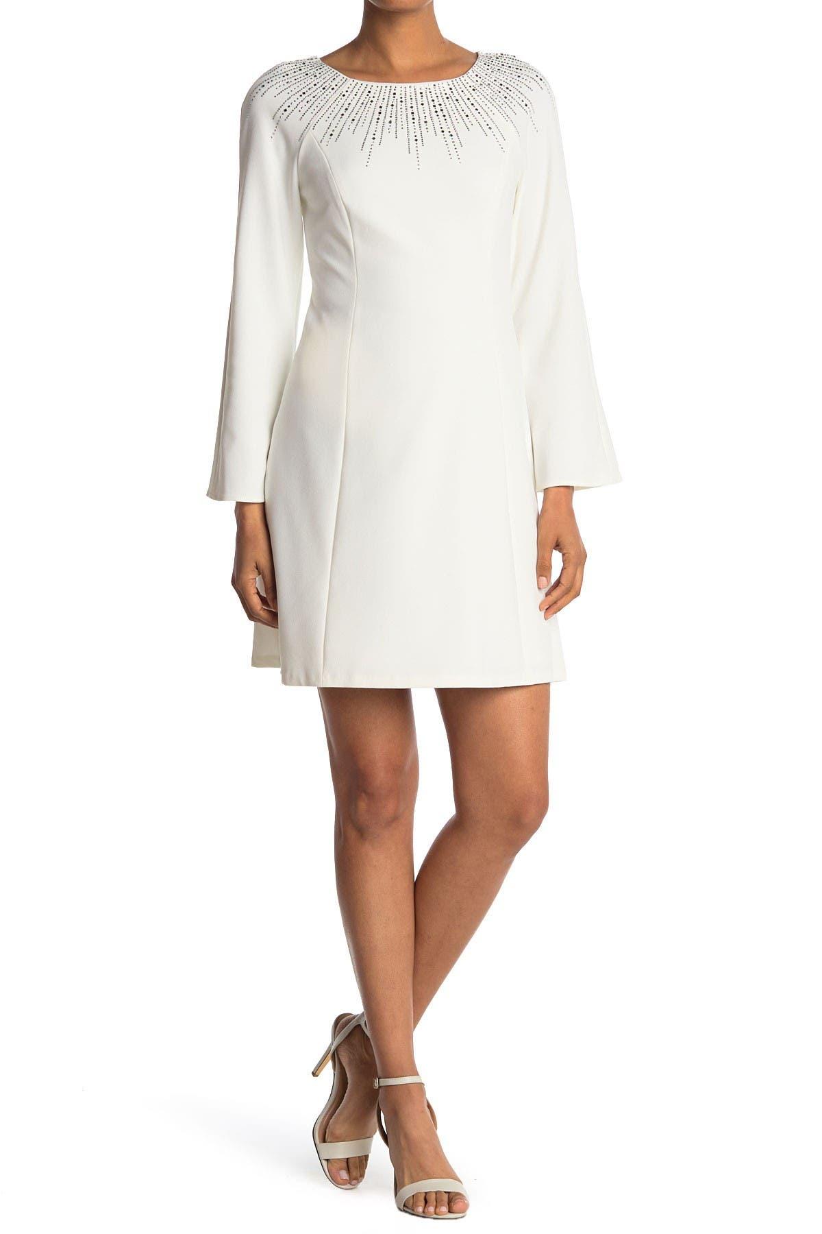 Image of Calvin Klein Bell Sleeve A-Line Dress