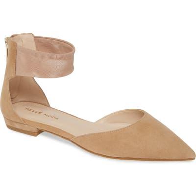 Pelle Moda Dale Ankle Strap Pointed Toe Flat, Beige