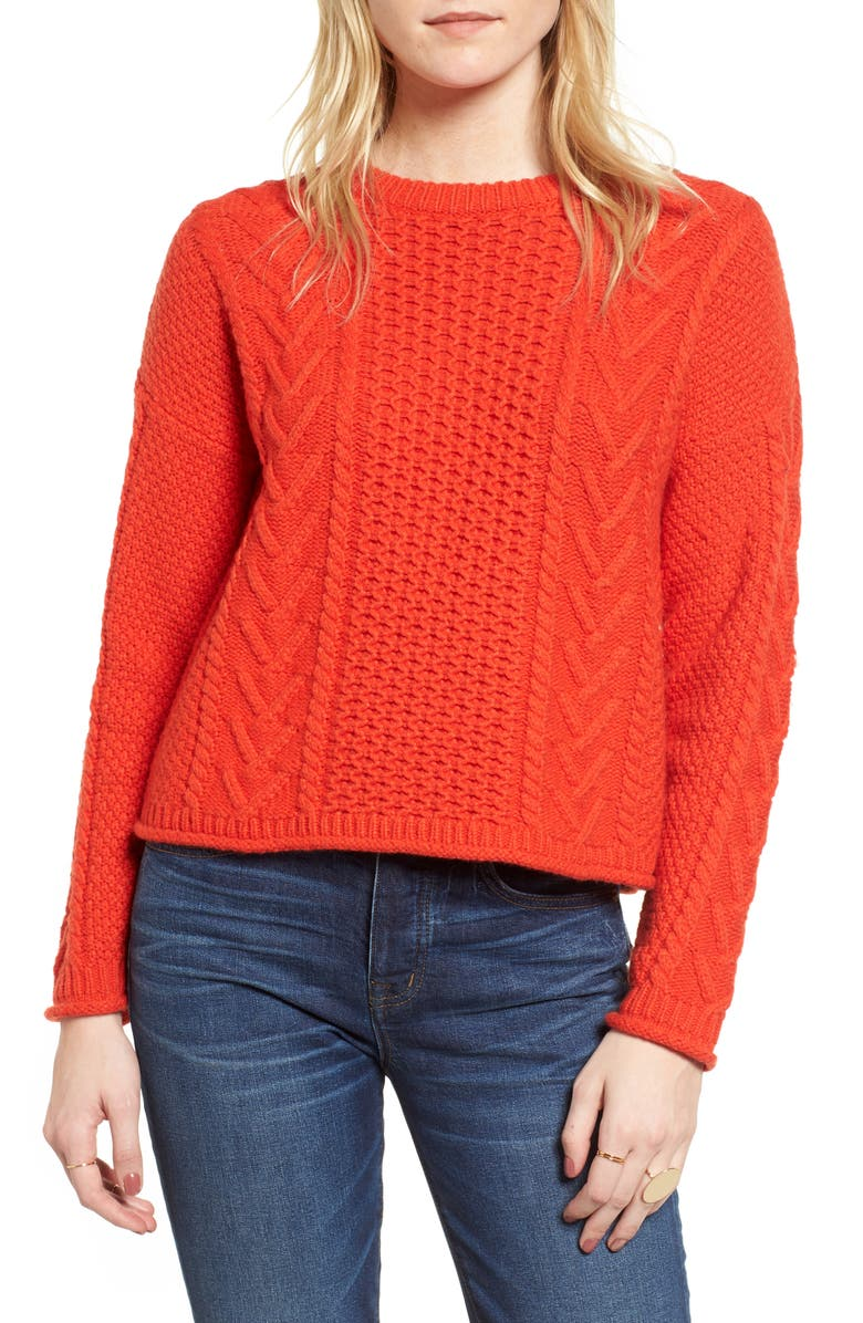 MADEWELL Cable Knit Pullover Sweater, Main, color, 600