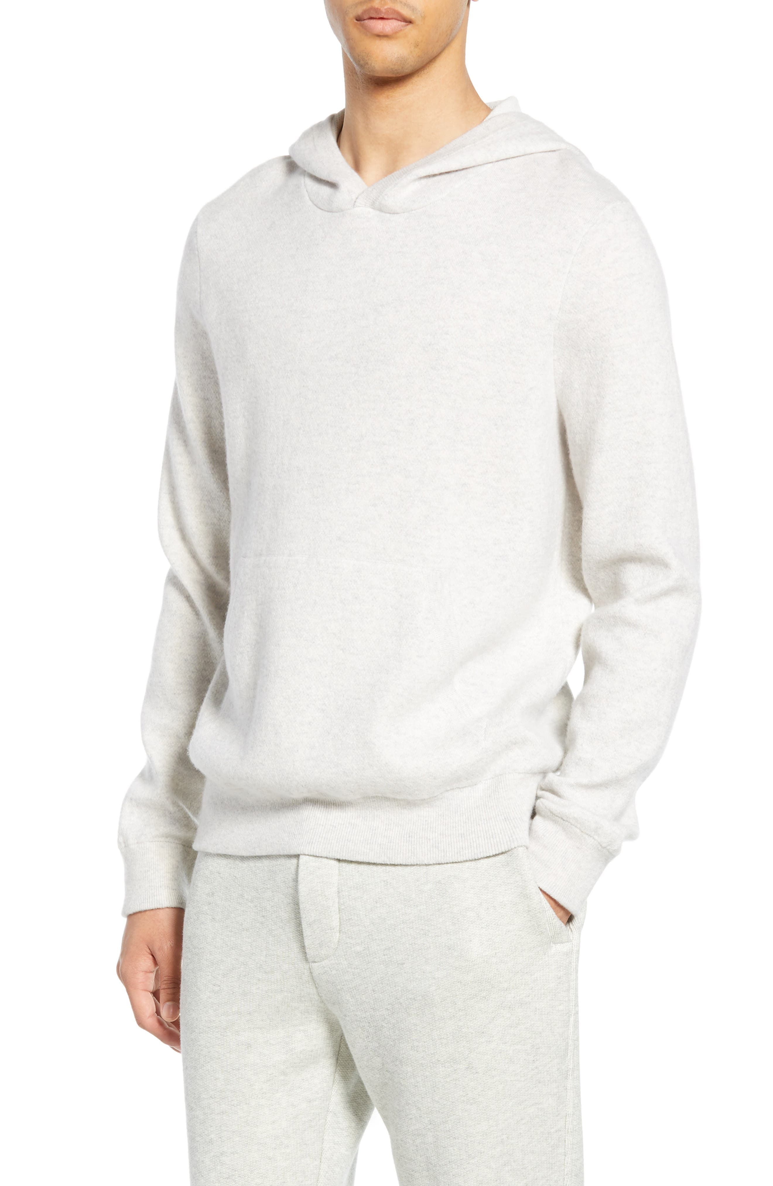 Wool & Cashmere Pullover Hoodie, Main, color, H CLOUD/ OPTIC WHITE