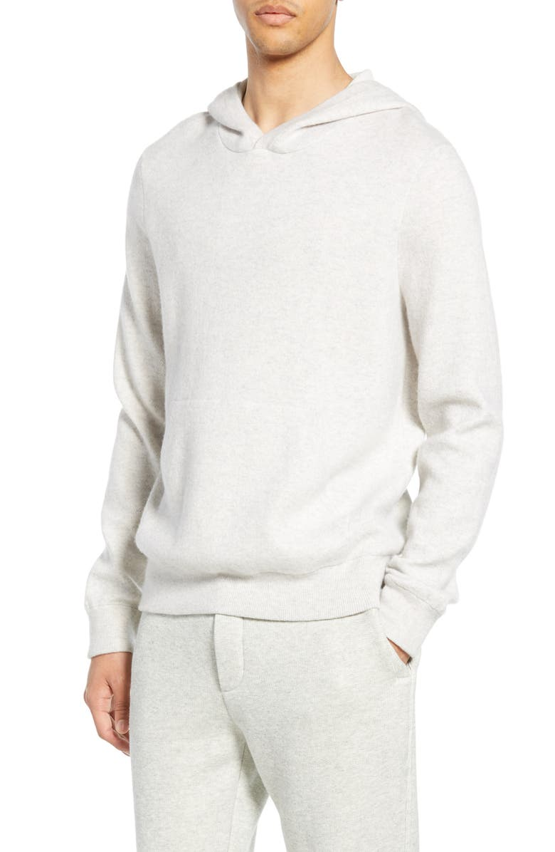 VINCE Wool & Cashmere Pullover Hoodie, Main, color, H CLOUD/ OPTIC WHITE