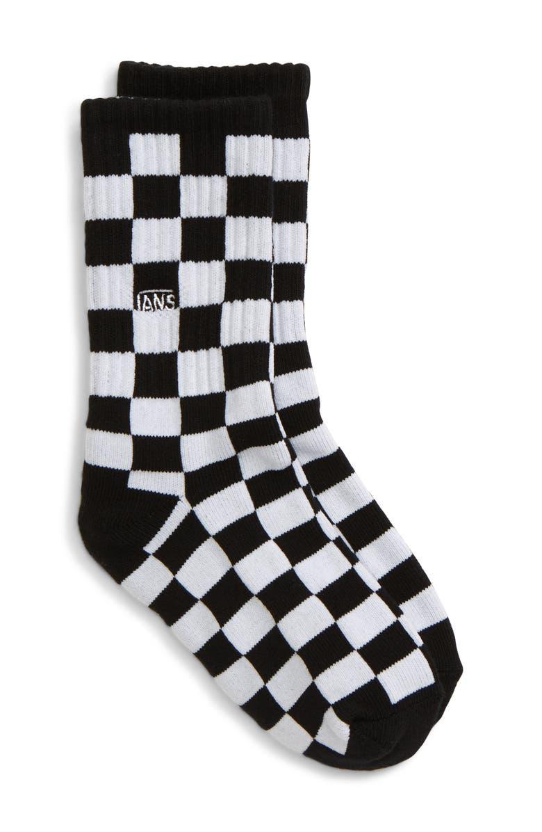 VANS Checkerboard Crew Socks, Main, color, BLACK