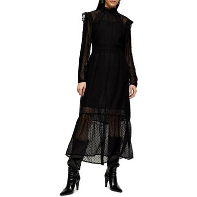 Topshop Long Sleeve Lace Trim Midi Dress, US (fits like 6-8) - Black