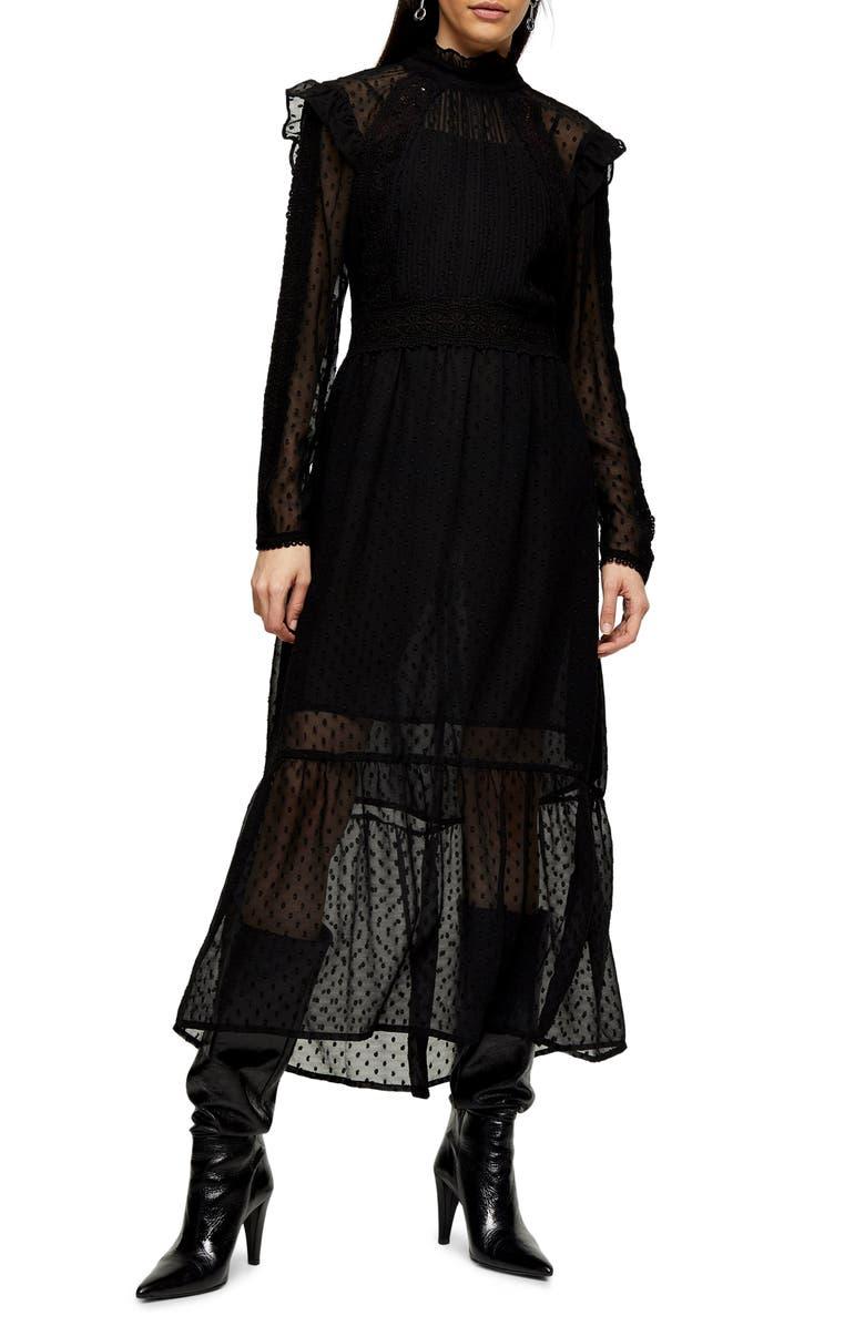 TOPSHOP Long Sleeve Lace Trim Midi Dress, Main, color, BLACK