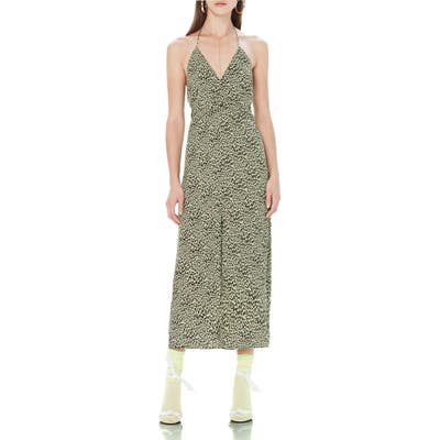 Afrm Cherry Halter Midi Dress, Green