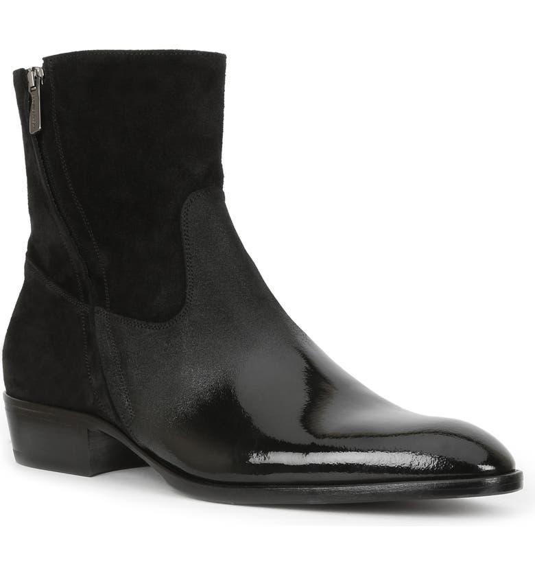 BRUNO MAGLI Risolo Zip Boot, Main, color, BLACK LEATHER