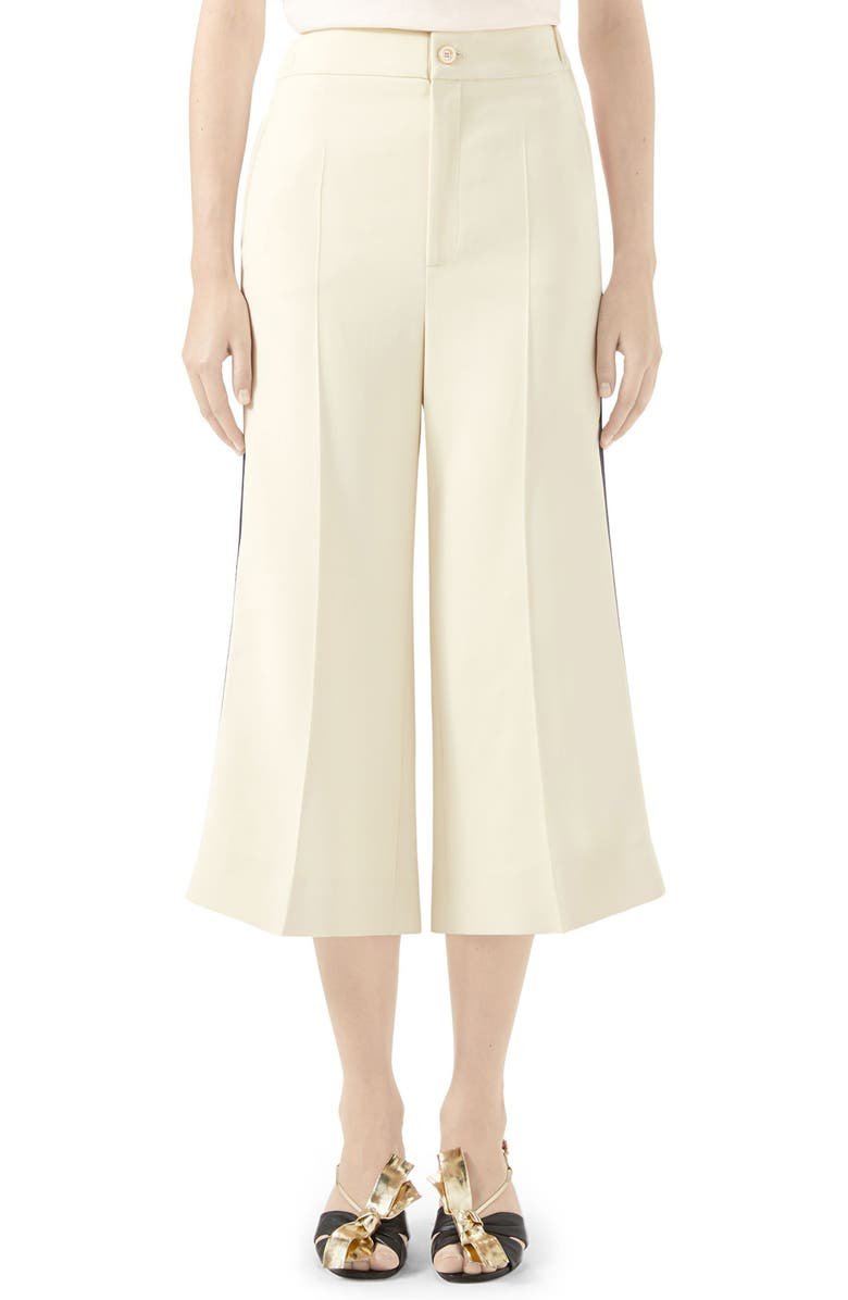 GUCCI Web Trim Stretch Cady Culottes, Main, color, GARDENIA/ MIX