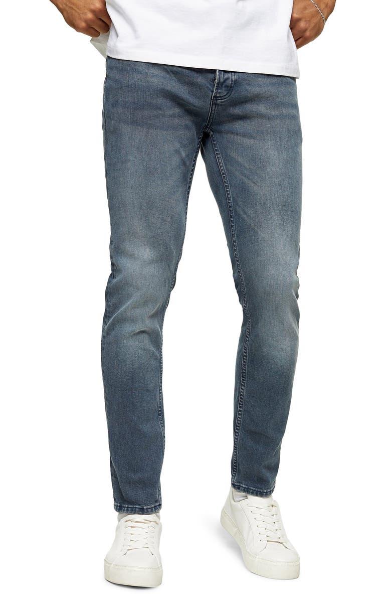 TOPMAN Skinny Jeans, Main, color, 400