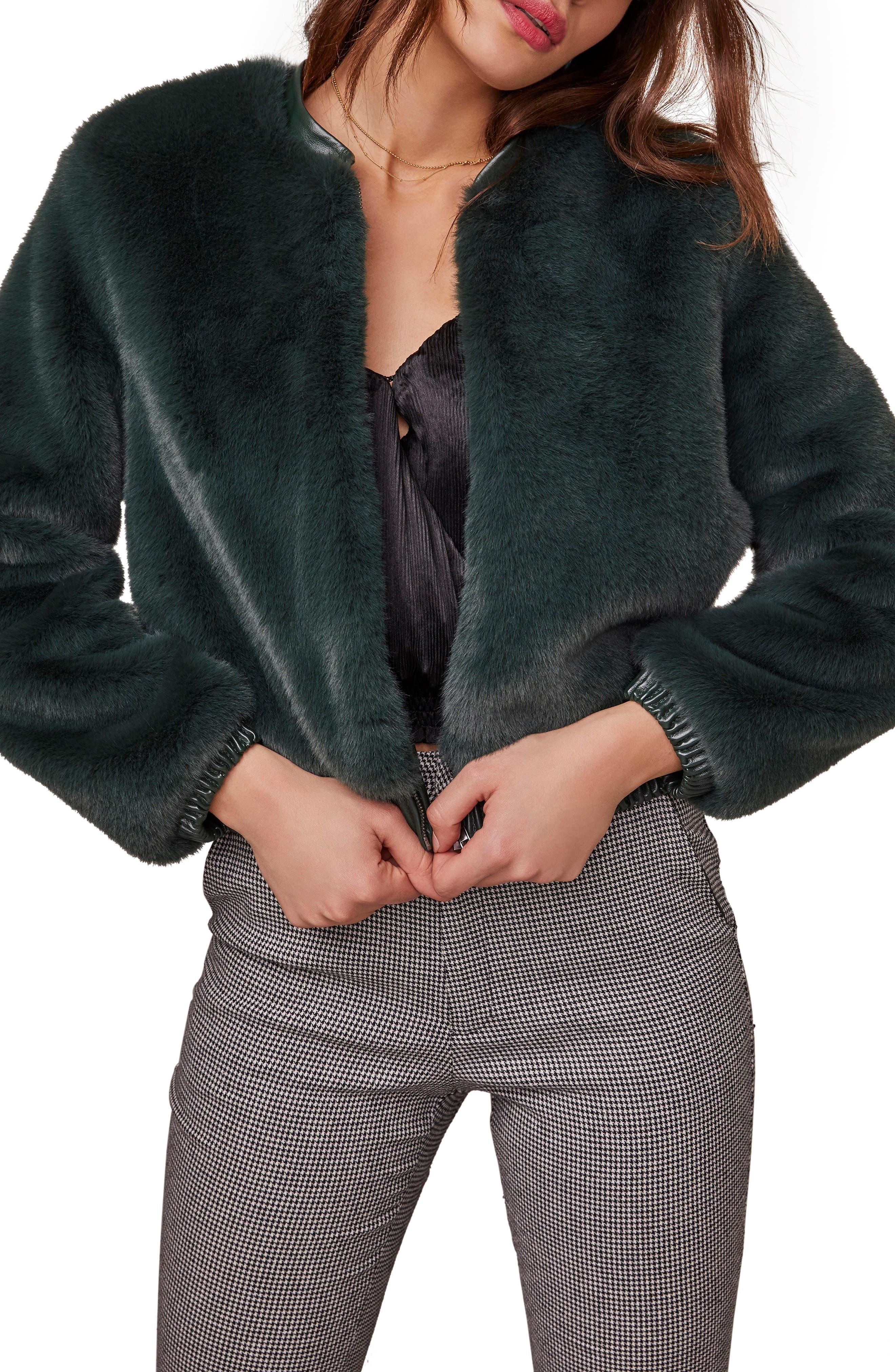 ASTR the Label Frankie Faux Fur Bomber Jacket