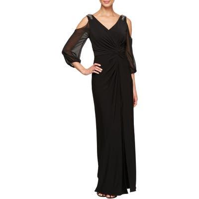 Petite Alex Evenings Cold Shoulder Knot Front Gown, Black