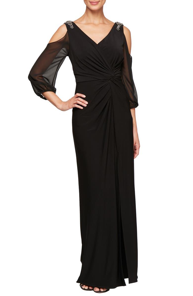ALEX EVENINGS Cold Shoulder Knot Front Gown, Main, color, BLACK