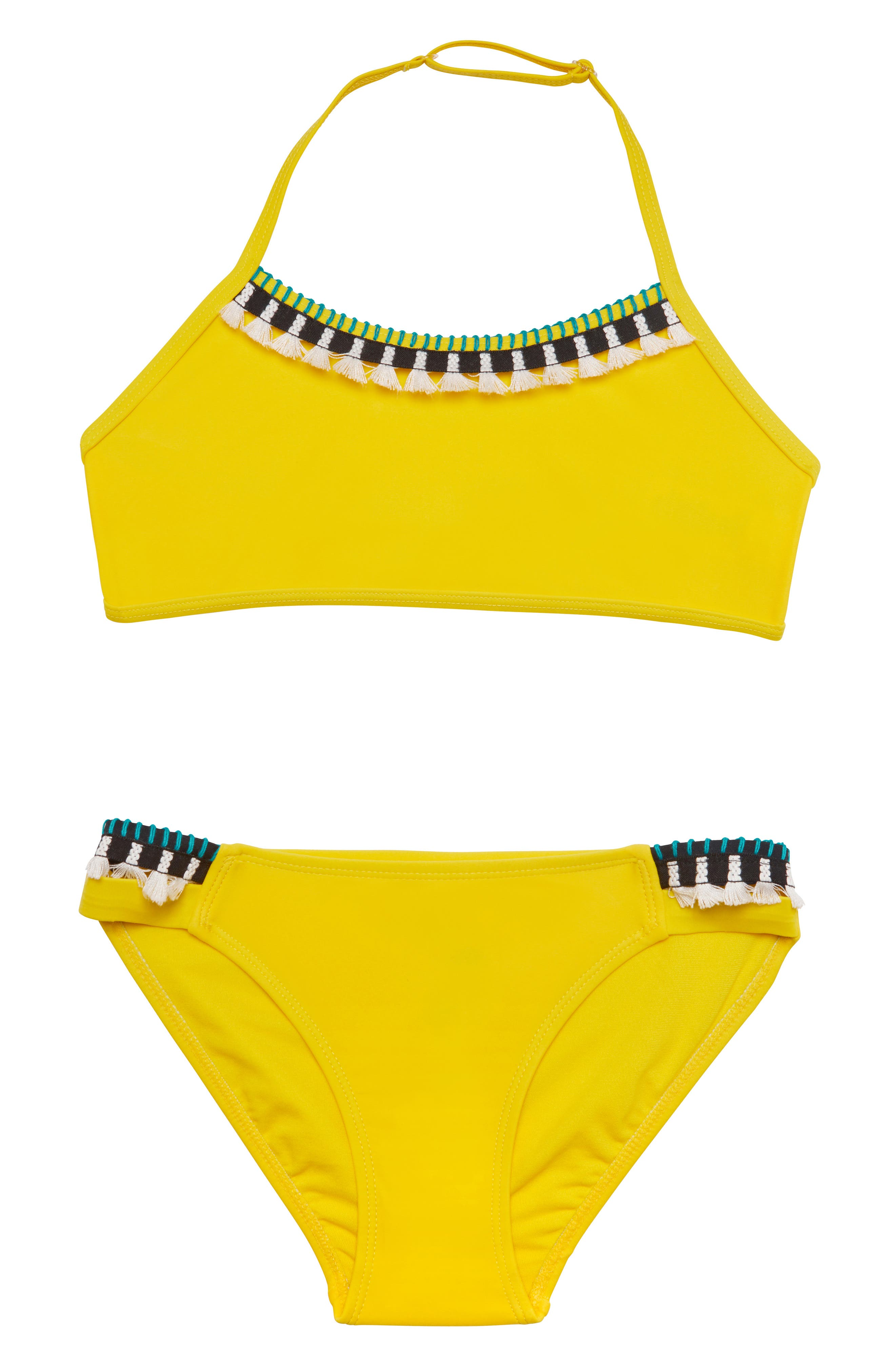 ,                             Tassel Party Two-Piece Swimsuit,                             Main thumbnail 1, color,                             YELLOW