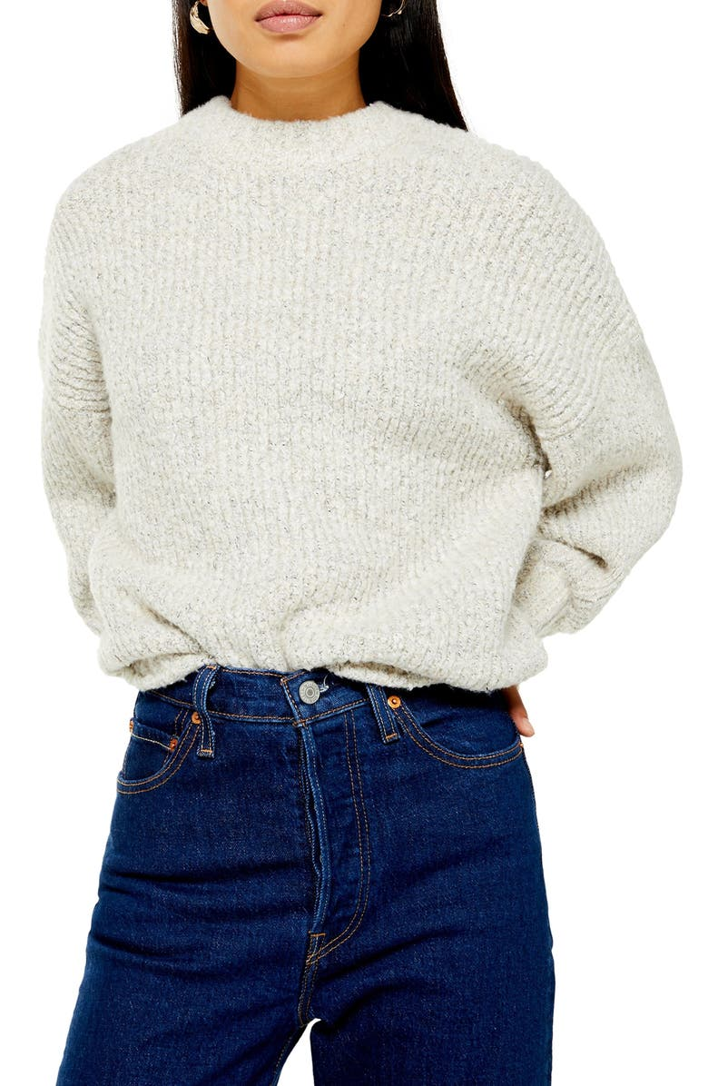 TOPSHOP Bouclé Sweater, Main, color, OATMEAL