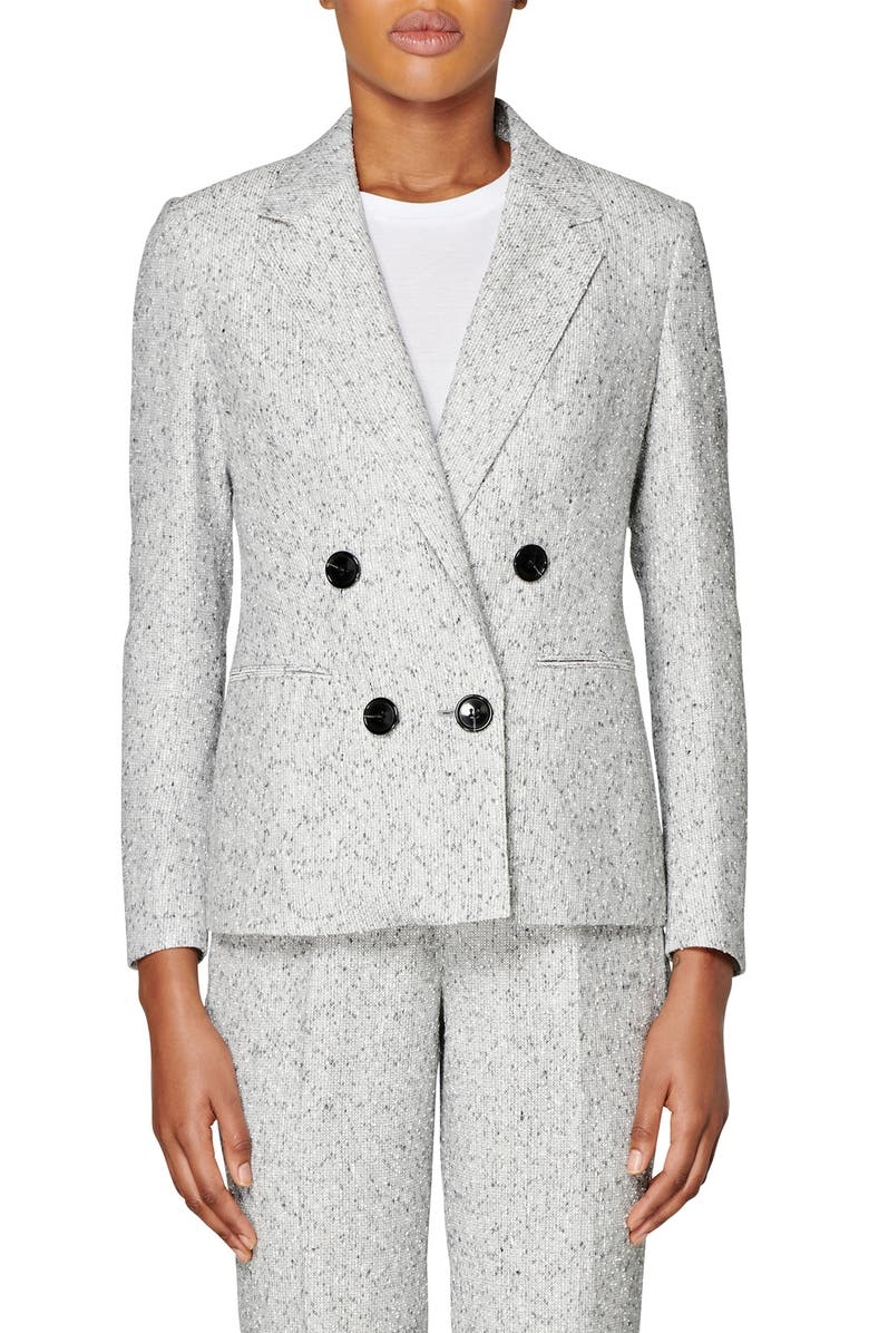 SUISTUDIO Joss Double Breasted Wool Blend Suit Jacket, Main, color, LIGHT GREY