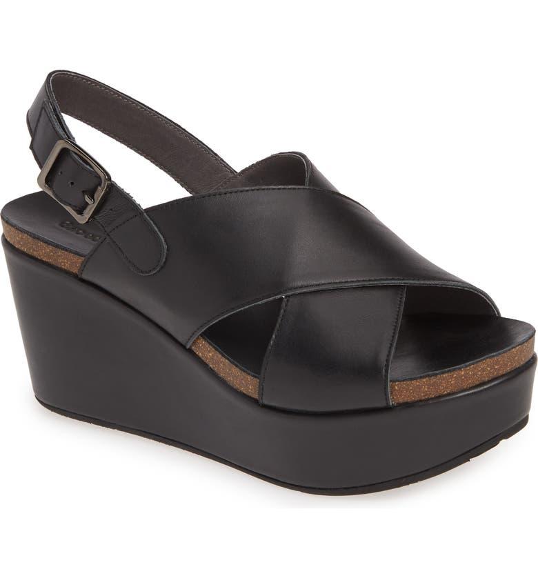 CHOCOLAT BLU Wink Platform Wedge Sandal, Main, color, BLACK LEATHER