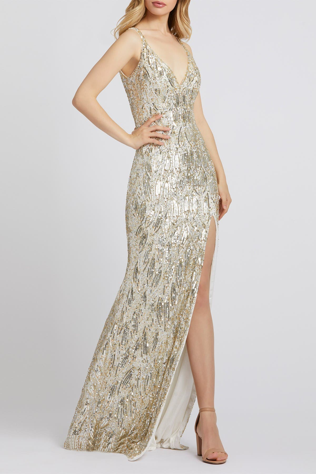 Image of Mac Duggal V-Neck Beaded Sequin Slit Sheath Gown