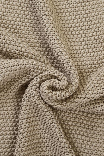 Image of Modern Threads Cable Knit Seed Stitch Pompom Throw - Sand