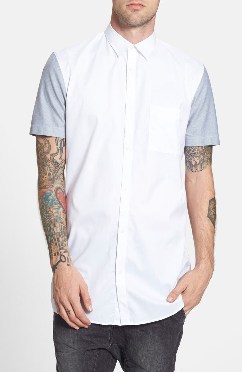 ZANEROBE 'Eight Foot' Elongated Short Sleeve Longline Woven Shirt, Main, color, 100
