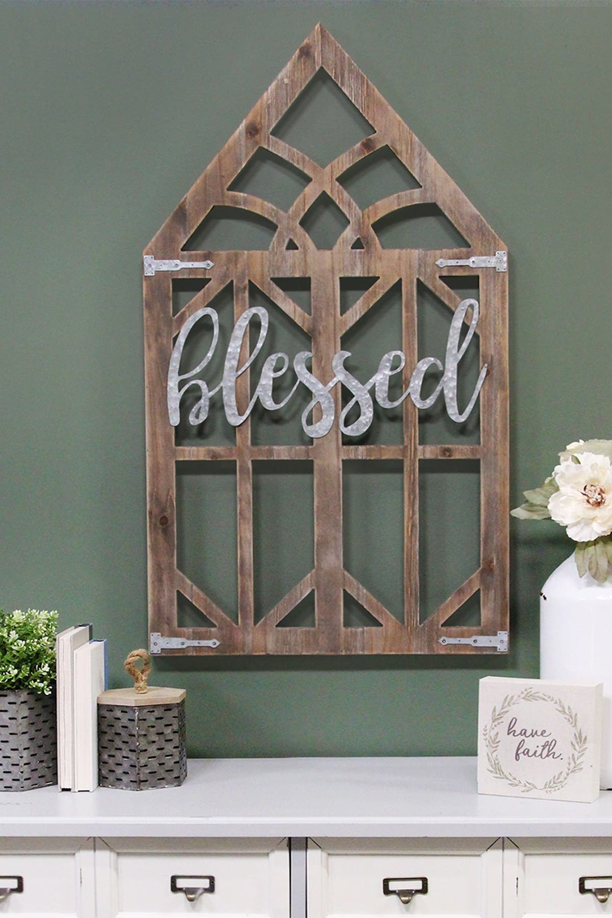 Stratton Home Walnut/Silver Blessed Laser Cut Wood Window Frame Wall Decor at Nordstrom Rack