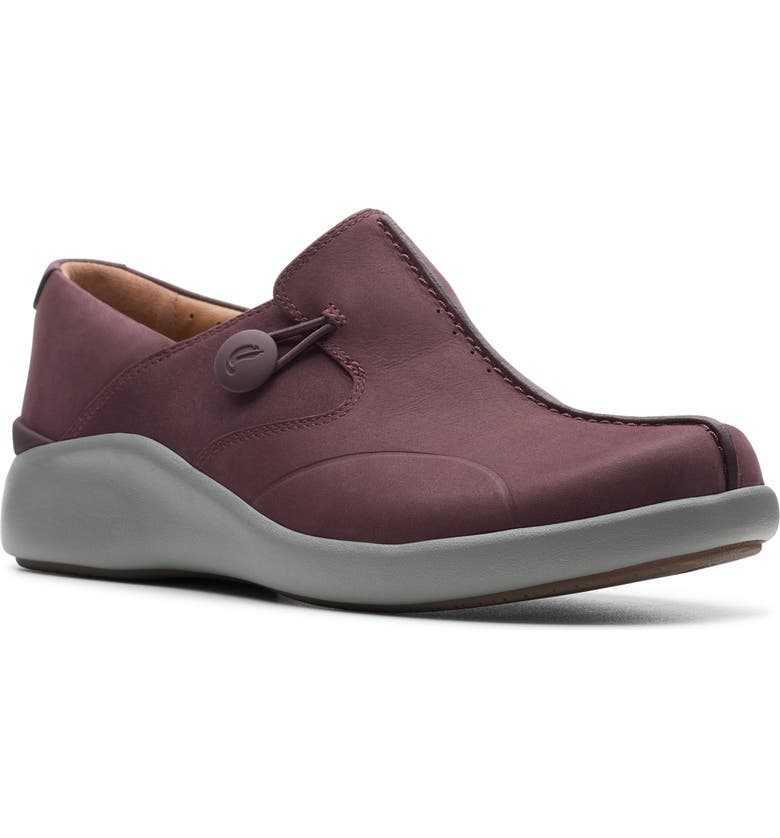 CLARKS<SUP>®</SUP> Un Walk 2 Flat, Main, color, AUBERGINE NUBUCK LEATHER
