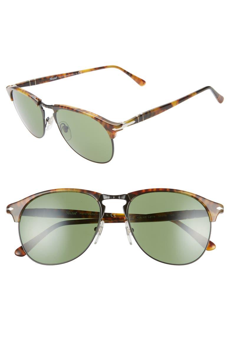 PERSOL 56mm Gradient Brow Bar Sunglasses, Main, color, DARK HAVANA/ GREEN