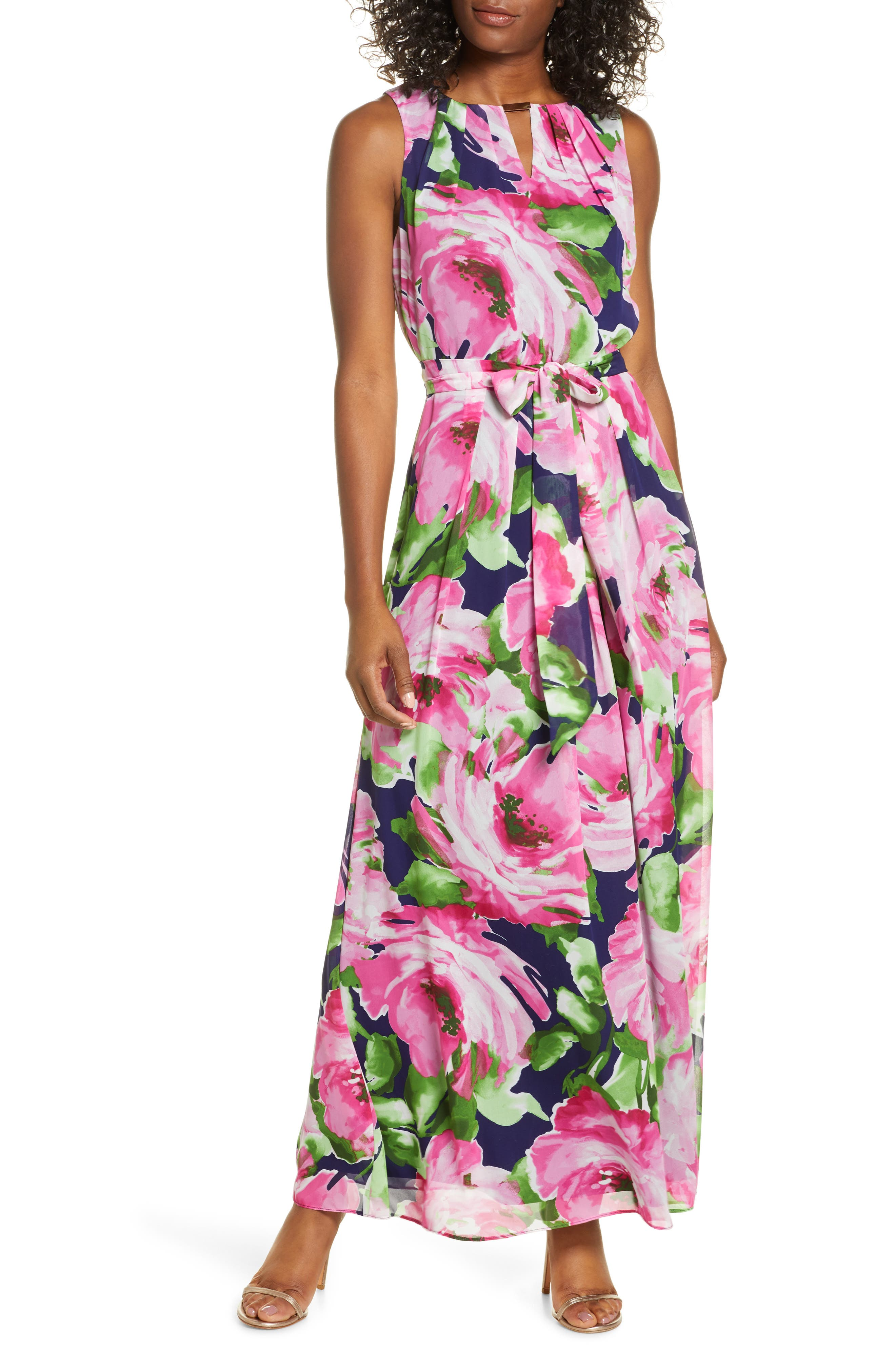 Image of Donna Ricco Abstract Floral Print Sleeveless Maxi Dress