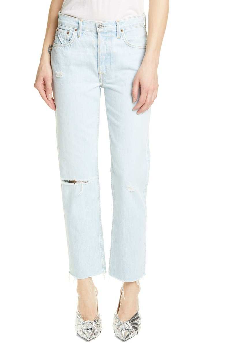 GRLFRND Helena Ripped Straight Leg Jeans, Main, color, ALMOST ALWAYS