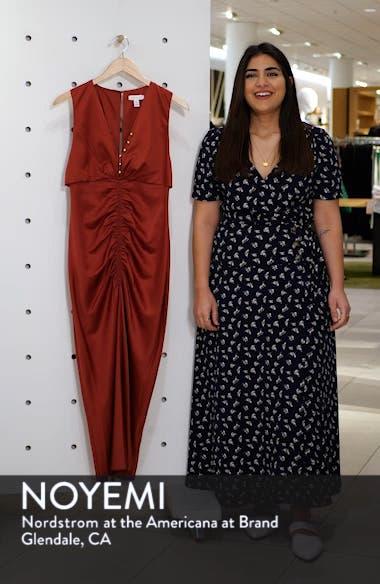 Ruched Button Satin Midi Dress, sales video thumbnail