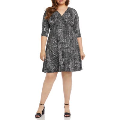 Plus Size Karen Kane Print Faux Wrap Dress, Black