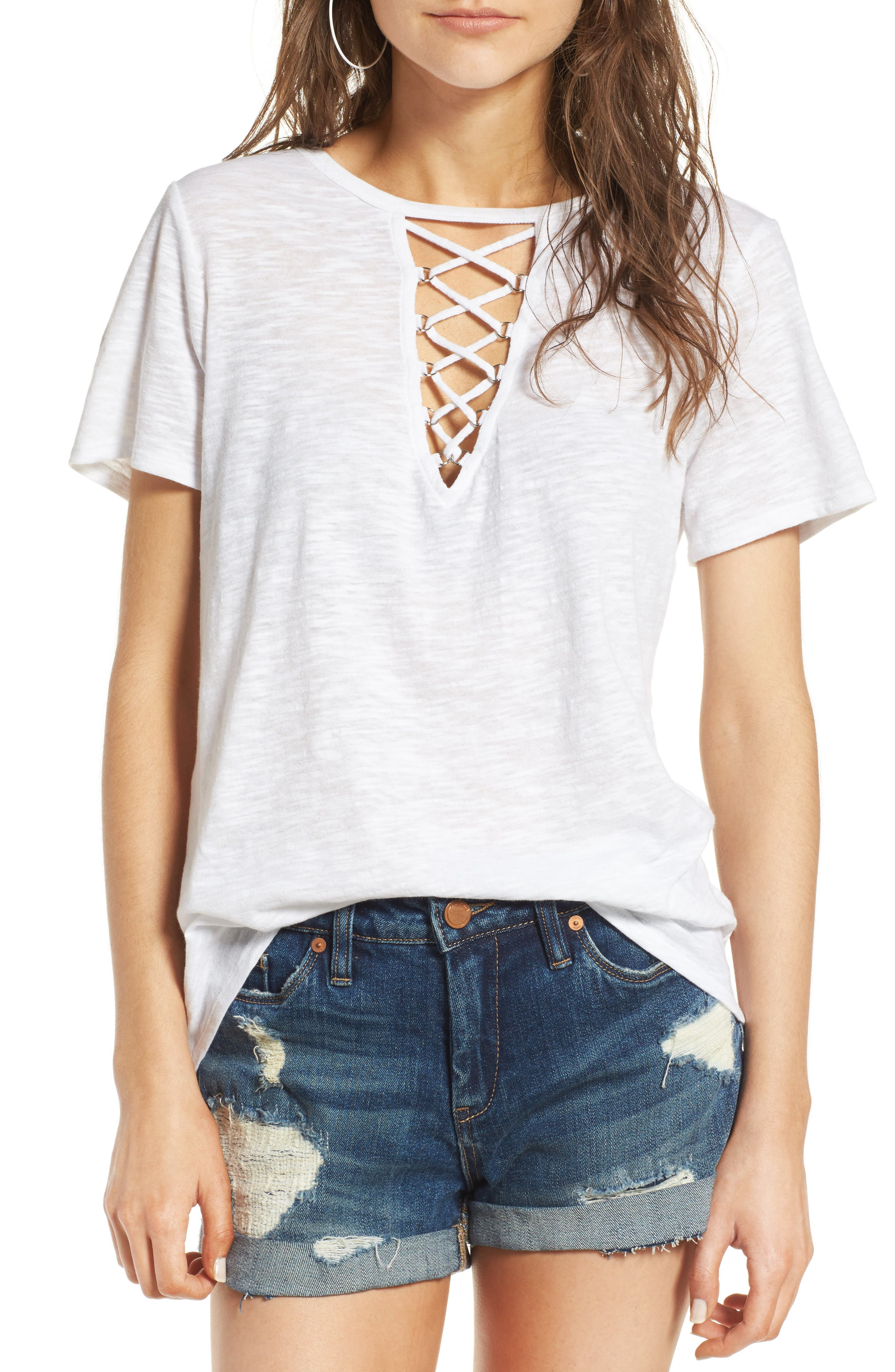 ,                             Grommet Lace-Up Tee,                             Main thumbnail 45, color,                             900