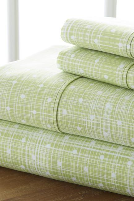 Image of IENJOY HOME The Home Spun Premium Ultra Soft Polka Dot Pattern 4-Piece King Bed Sheet Set - Moss