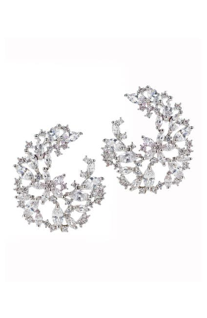 Image of CZ By Kenneth Jay Lane Marquise Round CZ Cluster Earrings